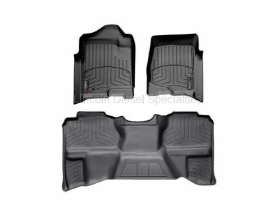 Interior Accessories - Accessories - WeatherTech - WeatherTech Duramax Extended Cab Front & Rear Laser Measured Floor Liners (Black) 2007.5-2014 (Under Seat Rear Mat)
