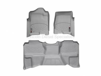Interior Accessories - Accessories - WeatherTech - WeatherTech Duramax Extended Cab Front & Rear Laser Measured Floor Liners (Grey) 2007.5-2014 (Under Seat Rear Mat)