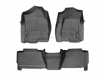 Interior Accessories - Accessories - WeatherTech - WeatherTech Duramax Crew Cab Front & Rear Laser Measured Floor Liners (Black) 2001-2007