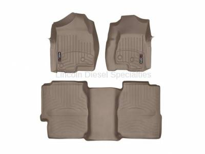 Interior Accessories - Accessories - WeatherTech - WeatherTech Duramax Extended Cab Front & Rear Laser Measured Floor Liners (Tan) 2001-2007(Under Seat Rear Mat)