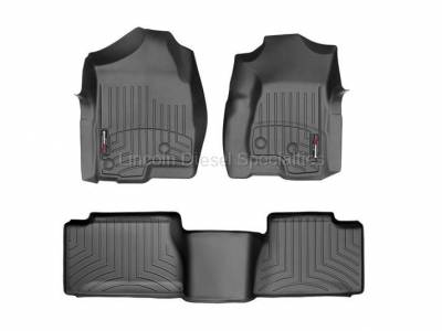 Interior Accessories - Accessories - WeatherTech - WeatherTech Duramax Extended Cab Front & Rear Laser Measured Floor Liners (Black) 2001-2007 (Std. Seat Rear Mat)