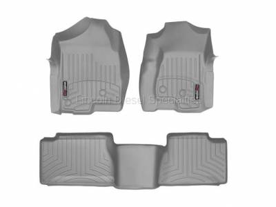 Interior Accessories - Accessories - WeatherTech - WeatherTech Duramax Extended Cab Front & Rear Laser Measured Floor Liners (Grey) 2001-2007(Std.Rear Mat)