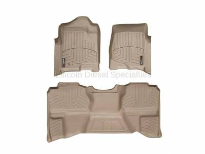 Interior Accessories - Accessories - WeatherTech - WeatherTech Duramax Extended Cab Front & Rear Laser Measured Floor Liners (Tan) 2007.5-2014 (Under Seat Rear Mat)