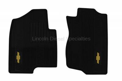 07.5-10 LMM Duramax - Interior Accessories - GM - GM OEM Front All-Weather Floor Mats in Ebony with Gold Bowtie Logo (2007.5-2014)