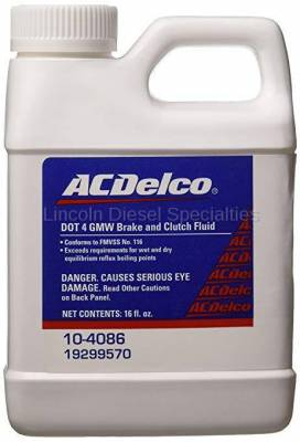 06-07 LBZ Duramax - Oil, Fluids, Additives, Grease, and Sealants - GM - GM AC Delco DOT 4 Hydraulic Brake and Clutch Fluid - 16 oz (2001-2018)