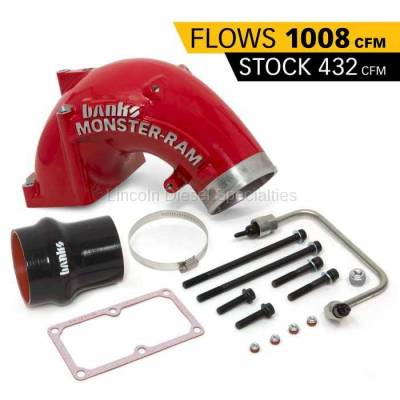 2010-2012 24 Valve 6.7L - Air Intake - Banks - Banks Power Dodge/Cummins 6.7L, Monster-Ram Intake System w/ Fuel Line & Hump Hose (RED)(2007.5-2018)