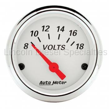 "Instrument Gauges/Pods/Hardware - Gauges - Auto Meter - Auto Meter Artic White, 2-1/16"" Voltmeter, 8-18V (Universal)"