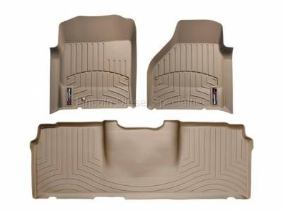 2003-2004 24 Valve, 5.9L Early - Interior Accessories - WeatherTech - WeatherTech Dodge/Ram Front & 2nd Row Set, Mega Cab  Laser Measured Floor Liners (Tan) 2006-2008