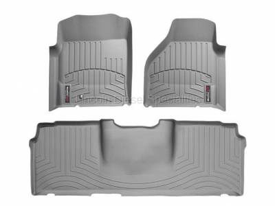 2003-2004 24 Valve, 5.9L Early - Interior Accessories - WeatherTech - WeatherTech Dodge/Ram Front & 2nd Row Set, Mega Cab  Laser Measured Floor Liners (Grey) 2006-2008