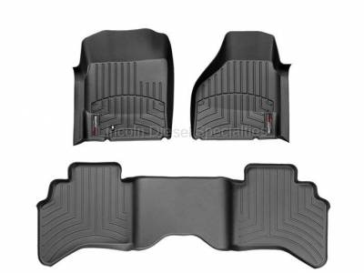 2013-2020 24 Valve 6.7L - Interior Accessories - WeatherTech - WeatherTech Dodge/Ram Front & 2nd Row Set, Crew Cab  Laser Measured Floor Liners (Black) 2010-2011