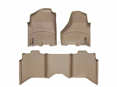 2013-2020 24 Valve 6.7L - Interior Accessories - WeatherTech - WeatherTech Dodge/Ram Front & 2nd Row Set, Crew Cab  Laser Measured Floor Liners (Tan) 2010-2011