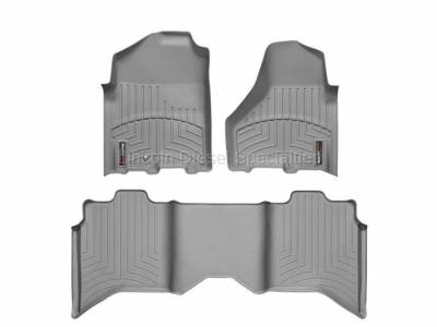 2013-2020 24 Valve 6.7L - Interior Accessories - WeatherTech - WeatherTech Dodge/Ram Front & 2nd Row Set, Crew Cab  Laser Measured Floor Liners (Grey) 2010-2011