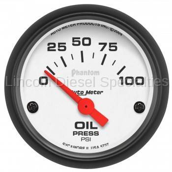 "Instrument Clusters/Gauges - Pods & Pillars - Auto Meter - Auto Meter Phantom Series, 2-1/16"" Oil Pressure, 0-100 PSI, Air Core (Universal)"